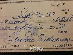 Ted Williams Autographed Check With Hunt Auction COA signed by Daughter Claudia