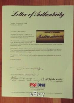 Ted Williams Autographed Louisville Slugger Bat PSA Claudia Williams Trust +Tube