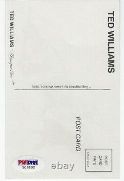 Ted Williams Autographed Postcard PSA/DNA COA
