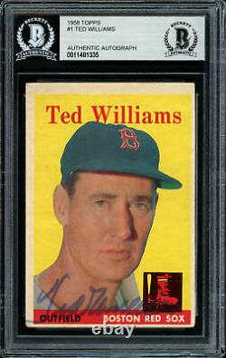 Ted Williams Autographed Signed 1958 Topps Card #1 Red Sox Beckett 11481335