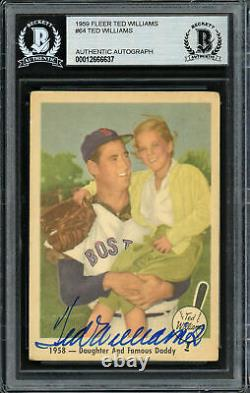 Ted Williams Autographed Signed 1959 Fleer Card #64 Red Sox Beckett 12666637