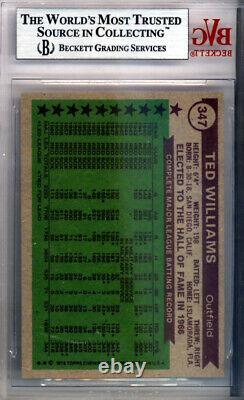 Ted Williams Autographed Signed 1976 Topps Card #347 Red Sox Beckett 9772842