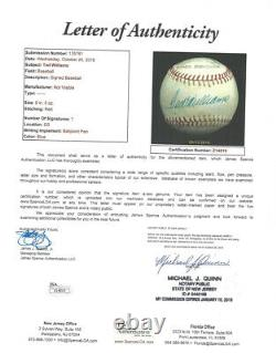 Ted Williams Autographed Signed League Baseball Boston Red Sox JSA Z14819