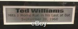 Ted Williams Autographed Signed and Framed 16x20 Photo Boston Red Sox Last Bat