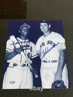 Ted Williams Hank Aaron signed 8x10 photo with coa Red Sox Braves
