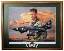 Ted Williams Marine Fighter Pilot Signed 20x24 Lithograph Print Framed 158084