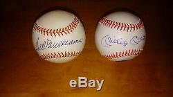 Ted Williams Mickey Mantle Signed Autographed Baseball's 500 HR CLUB HOF