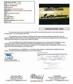 Ted Williams Red Sox HOF Signed Louisville Slugger Baseball Bat JSA 138665