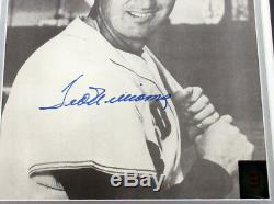 Ted Williams Signed 11x13 B&W Photo Matted Framed Green Diamond Auto DF025150