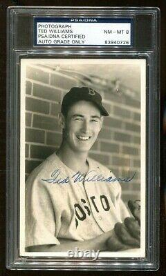 Ted Williams Signed 1941 Photo By George Burke Autographed PSA/DNA NM-MT 8