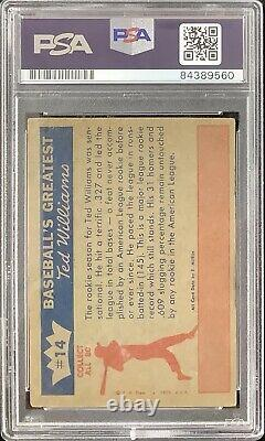 Ted Williams Signed 1959 Fleer #14 Baseball Card Red Sox Autograph HOF PSA/DNA