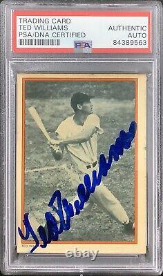 Ted Williams Signed 1985 Circle K #9 Baseball Card Red Sox Autograph HOF PSA/DNA