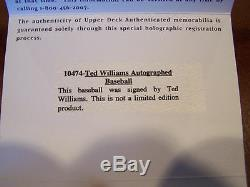 Ted Williams Signed Auto Boston Red Sox Al Baseball Upper Deck Authenticated