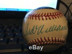 Ted Williams Signed Autographed Baseball Ball Green Diamond Cert