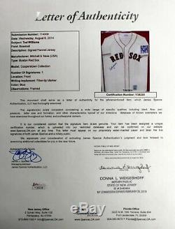 Ted Williams Signed Autographed Jersey Framed Boston Red Sox Jsa Y39239