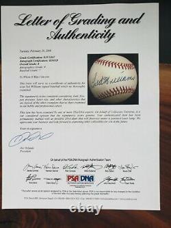 Ted Williams Signed/Autographed OAL Baseball PSA Grade 9 Signature