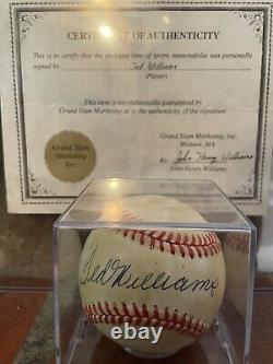 Ted Williams Signed Autographed OAL Brown Baseball w Grand Slam / John Henry COA