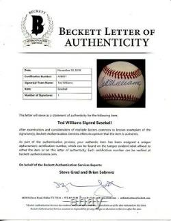 Ted Williams Signed Autographed ONL Baseball Red Sox Beckett BAS (B15)