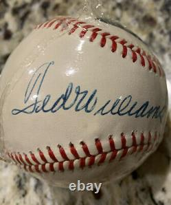 Ted Williams Signed Baseball Green Diamond Hologram Red Sox Shrink Wrapped
