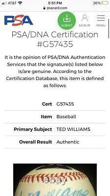 Ted Williams Signed Baseball Hologram PSA DNA Defect