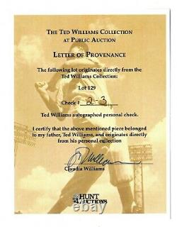 Ted Williams Signed Check Personal Donation $500 Jan. 18th 1985 No Folds! Coa