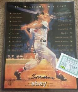 Ted Williams Signed Hit List 16x20 Photo (Green Diamond Auth) Auto Autographed
