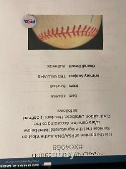 Ted Williams Single Signed Baseball Autographed PSA DNA