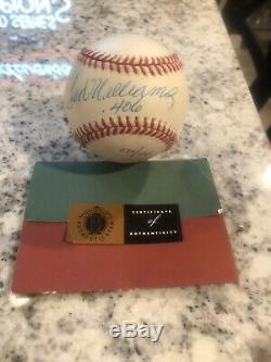 Ted Williams Uda Upper Deck Authenticated. 406 Insc. Signed Autographed Baseball