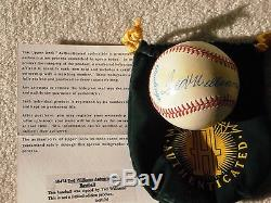 Ted Williams autographed baseball COA from Upper Deck