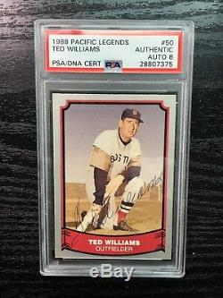 Ted Williams signed 1988 Pacific Legends PSA/DNA Auto 8 Boston Red Sox USMC