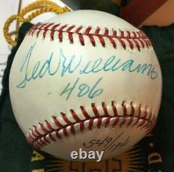 Uda Ted Williams Ss Signed Baseball. 406 Inscription #/1941 Oal Ball Autograph
