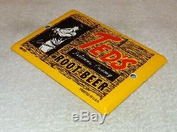 Vintage Ted's Root Beer Ted Williams 7 Porcelain Metal Soda Pop, Gas & Oil Sign